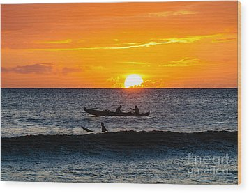 Two Men Paddling A Hawaiian Outrigger Canoe At Sunset On Maui Wood Print