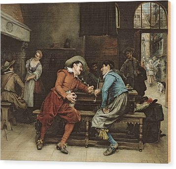 Two Men Talking In A Tavern Wood Print by Jean Charles Meissonier