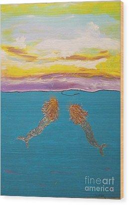 Two Mermaids Wood Print