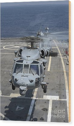 Two Mh-60s Sea Hawk Helicopters Take Wood Print by Stocktrek Images