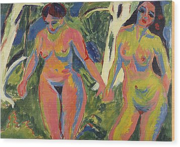Two Nude Women In A Wood Wood Print by Ernst Ludwig Kirchner
