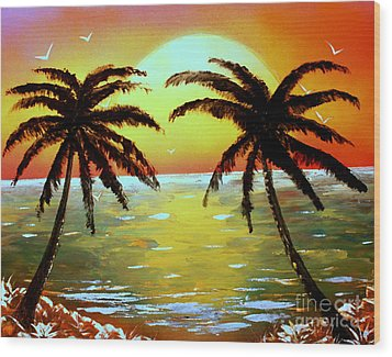 Two Palms Wood Print by Greg Moores