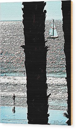 Two Palms Sailboat And Swimmer Wood Print by Brian D Meredith