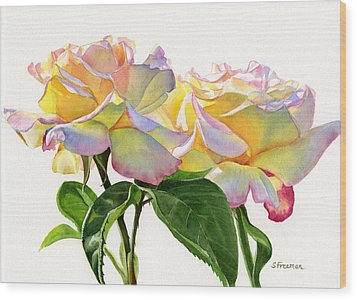 Two Peace Roses Wood Print by Sharon Freeman