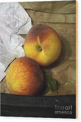 Two Peaches Wood Print by Miriam Danar