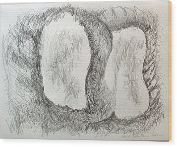 Wood Print featuring the painting Two Peas In A Pod by Esther Newman-Cohen