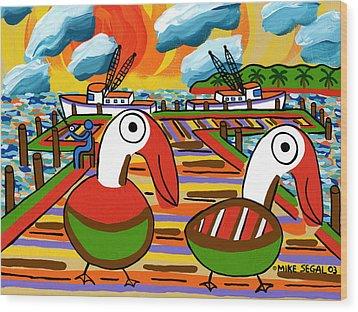 Two Pelicans On The Pier-cedar Key Wood Print