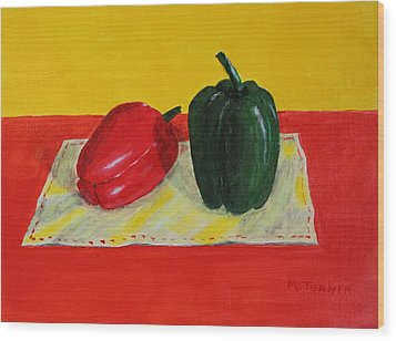 Wood Print featuring the painting Two Peppers by Melvin Turner