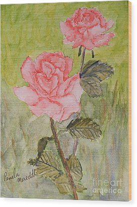 Two Pink Roses Wood Print by Pamela  Meredith