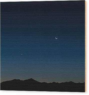 Two Planets And A Moon Wood Print by Carolina Liechtenstein