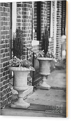 Two Planters By The Door Wood Print by John Rizzuto