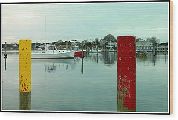 Two Poles Wood Print by Kathy Barney
