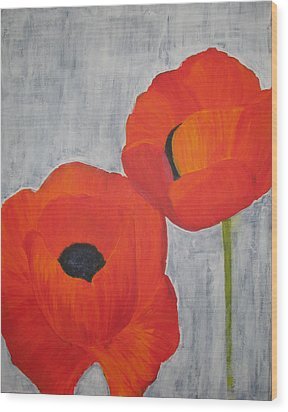 Two Poppies And Old Denim Wood Print