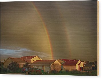 Two Rainbows Plus Two Pots Of Gold Wood Print by Jerome Lynch