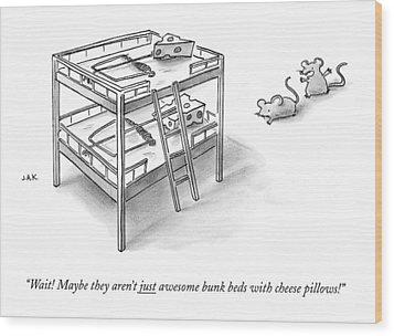 Two Rats Approach An Obvious Rat Trap On A Bunk Wood Print by Jason Adam Katzenstein