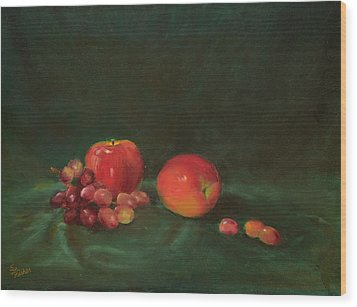 Two Red Apples And Grapes Wood Print