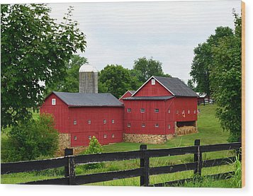 Wood Print featuring the photograph Two Red Barns by Cathy Shiflett