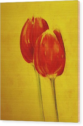 Two Red Tulips Wood Print by Jean Cormier