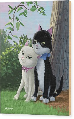 Two Romantic Cats In Love Wood Print by Martin Davey