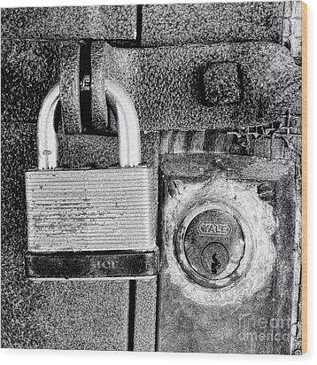 Two Rusty Old Locks - Bw Wood Print