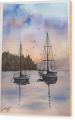 Two Sail Boats At Anchor Sold Wood Print by Richard Benson