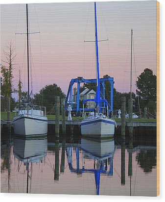 Two Sailboats At Dock Wood Print by Carolyn Ricks