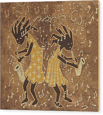 Two Sax Players Wood Print