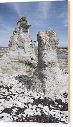 Wood Print featuring the photograph Two Sculpted Rocks On Naked Isld by Arkady Kunysz