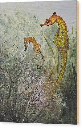 Two Sea Horses Wood Print by Nancy Gorr