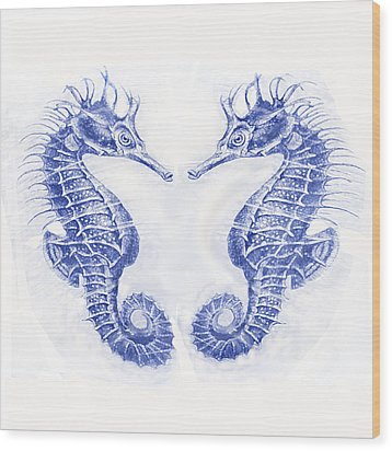 Two Seahorses- Blue Wood Print by Jane Schnetlage