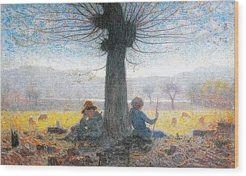 Two Shepherds On The Fields Of Mongini Wood Print by Giuseppe Pelizza da Volpedo