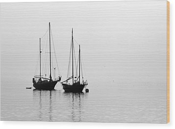 Two Ships In The Fog Wood Print by AJ  Schibig