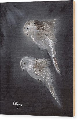 Wood Print featuring the painting Two Spirits In The Night by Barbie Batson
