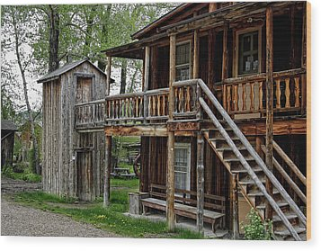 Two Story Outhouse - Nevada City Montana Wood Print by Daniel Hagerman