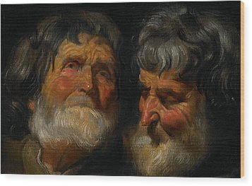 Two Studies Of The Head Of An Old Man Wood Print by Jacob Jordaens