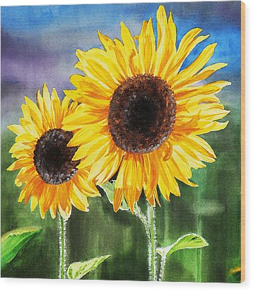 Two Sunflowers Wood Print