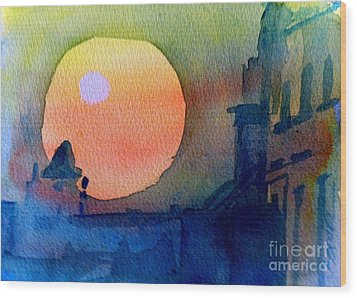 Two Suns Wood Print by Sandra Stone