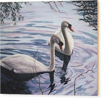 Wood Print featuring the painting Two Swans A Swimming by Sandra Chase