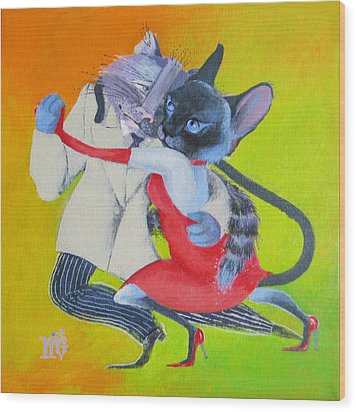 Two To Cats' Tango Wood Print