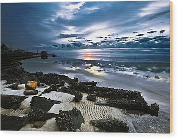 Wood Print featuring the photograph Two Tone Sunset-blue Sky Sea Reflection-splash Of Color by Eszra