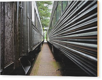 Two Trains Wood Print by Crystal Hoeveler