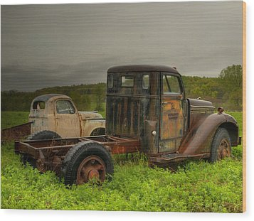 Two Trucks Wood Print by Thomas Young