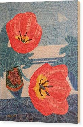 Two Tulips Wood Print by Adel Nemeth