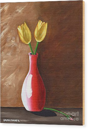 Wood Print featuring the painting Two Tulips And A Pink Rose by Laura Forde