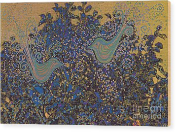 Two Turtle Doves In A Pear Tree Wood Print by First Star Art