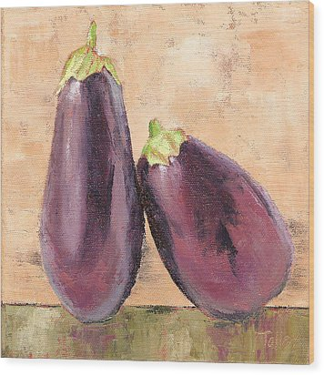 Wood Print featuring the painting Two Tuscan Eggplants by Pam Talley