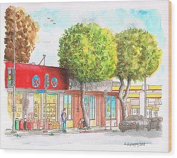 Two Tween Trees In Santa Monica Blvd - Santa Monica - Ca Wood Print by Carlos G Groppa