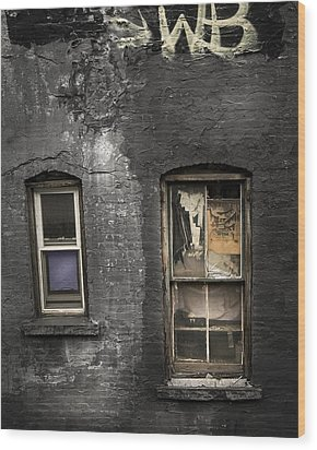 Two Windows Old And New - Old Building In New York Chinatown Wood Print by Gary Heller