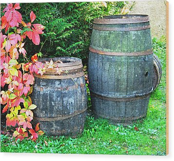 Two Wine Barrels And Red Ivy Digital Print Wood Print by Greg Matchick