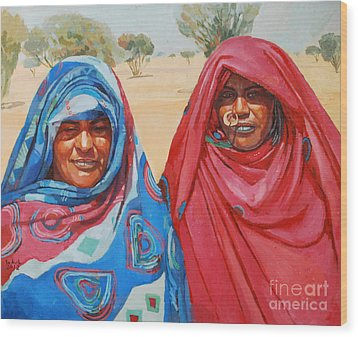 Two Women 2 Wood Print by Mohamed Fadul